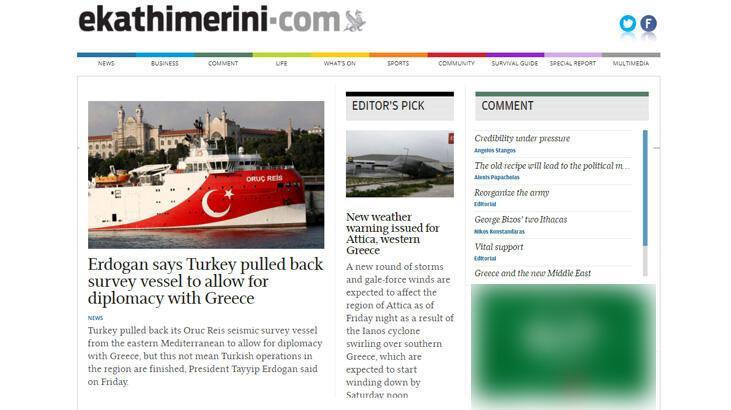 Erdoğan'ın Oruç Reis çıkışı Yunanistan'da ilk haber