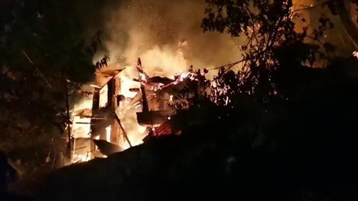 Artvin'de kabus gecesi! 4 ev, alev alev yandı