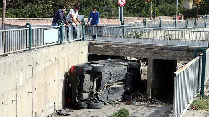 Sulama kanalına düşen otomobilde dehşeti yaşadı!