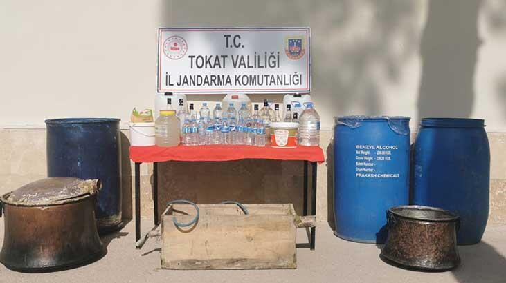 Tokat'ta 580 litre sahte içki ele geçirildi