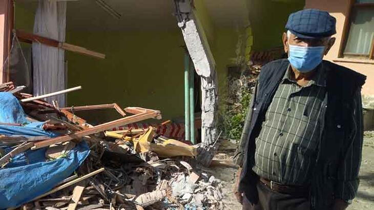 Freni boşalan vincin girdiği evin sahibi konuştu! Deprem sandım