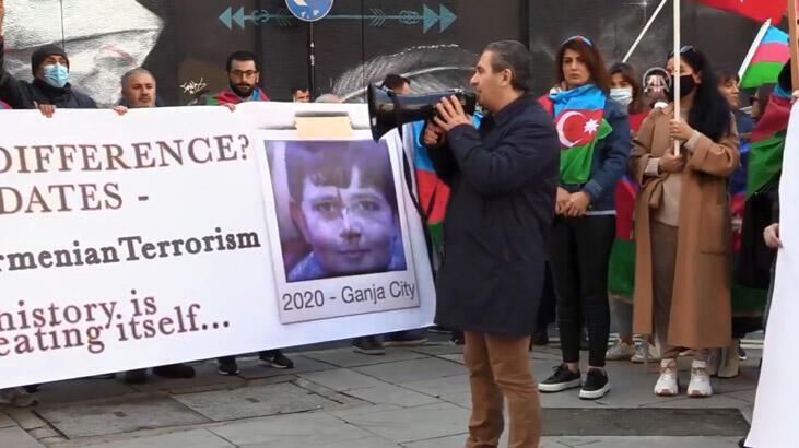 Son dakika...Azerbaycan Türkleri'nden Londra'da protesto gösterisi!