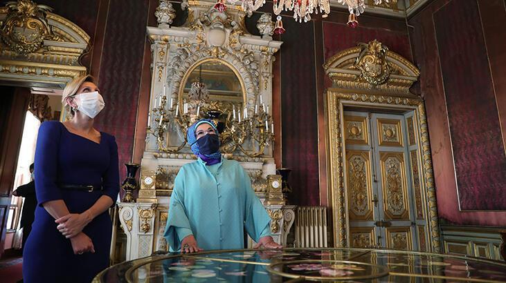 Emine Erdoğan, Zelenski'nin eşiyle Dolmabahçe Sarayı'nı ziyaret etti