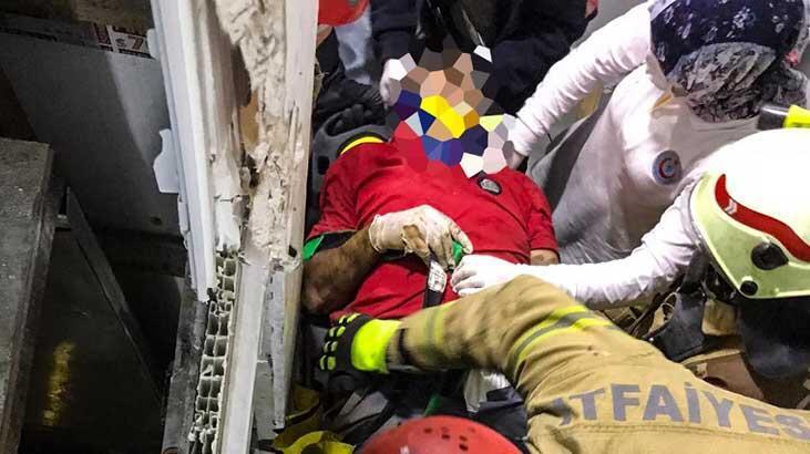 Başakşehir'de asansör boşluğuna düşen adam kurtarıldı