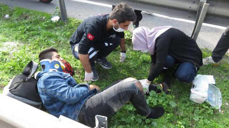 Maltepe'de otomobille bariyer arasında kalan motosikletli yaralandı