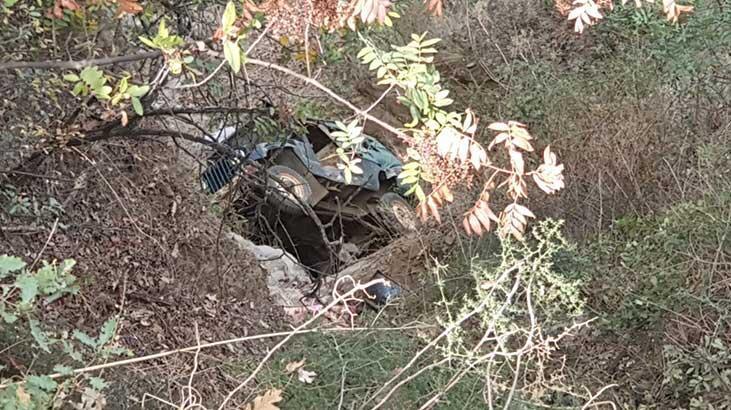 Nazilli'de freni patlayan araç uçuruma yuvarlandı