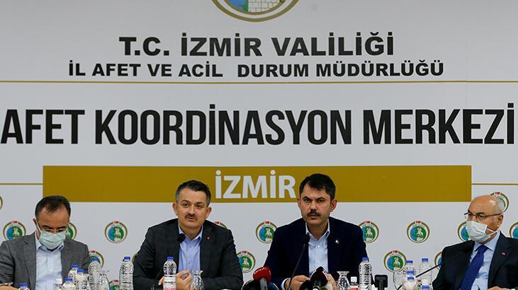 Son dakika... Bakanlar Kurum ve Pakdemirli'den İzmir depremi açıklaması