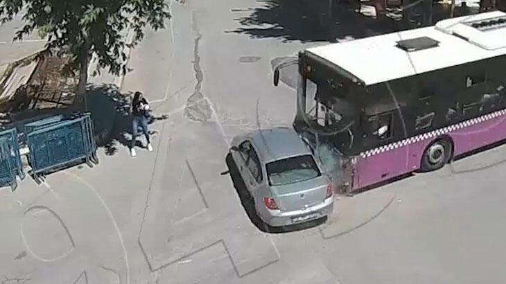 Genç kadın kazadan saniyelerle kurtuldu
