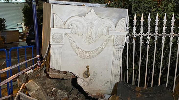 Bağdat Caddesi'nde tarihi çeşme kazada zarar gördü!