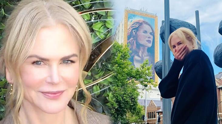 Sidney'de 18 katlı binaya Nicole Kidman portresi çizildi