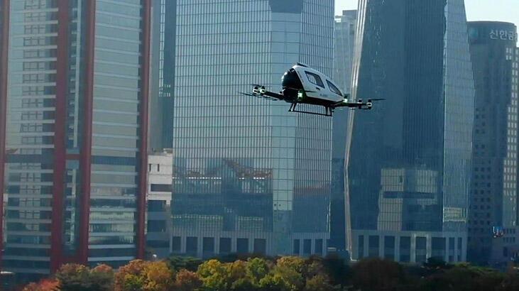 Drone taksi Seul'de ilk uçuşunu gerçekleşirdi