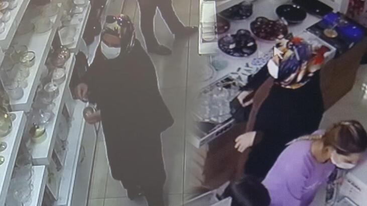 Çerezlik kaseleri çalan kadın kameraya yakalandı!