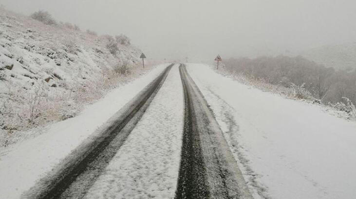 Sivas'ta, İmranlı'nın yüksek kesimlerinde kar yağışı