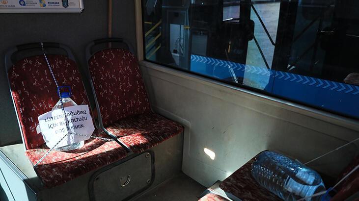 Otobüste 5 litrelik plastik su bidonuyla koronavirüs önlemi!