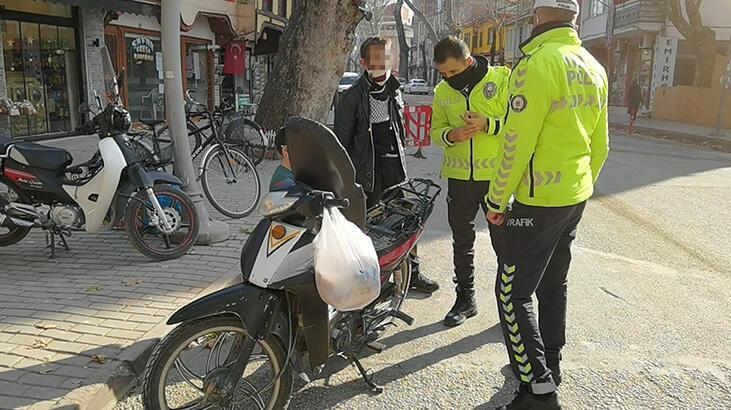 Çalıntı motosikletle ekmek almaya giden sürücüye gözaltı