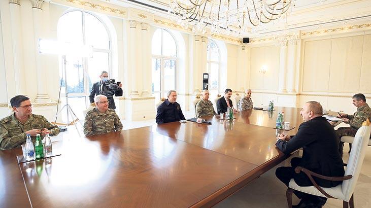 Aliyev, Bakan Akar ve komutanlarla görüştü
