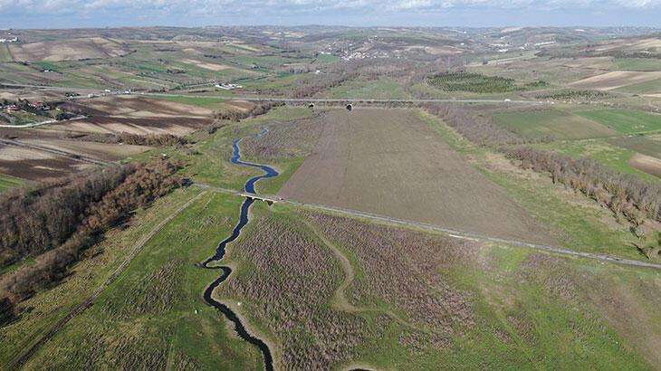 Sazlıdere'de sular çekildi, barajda koyunlar otlamaya başladı