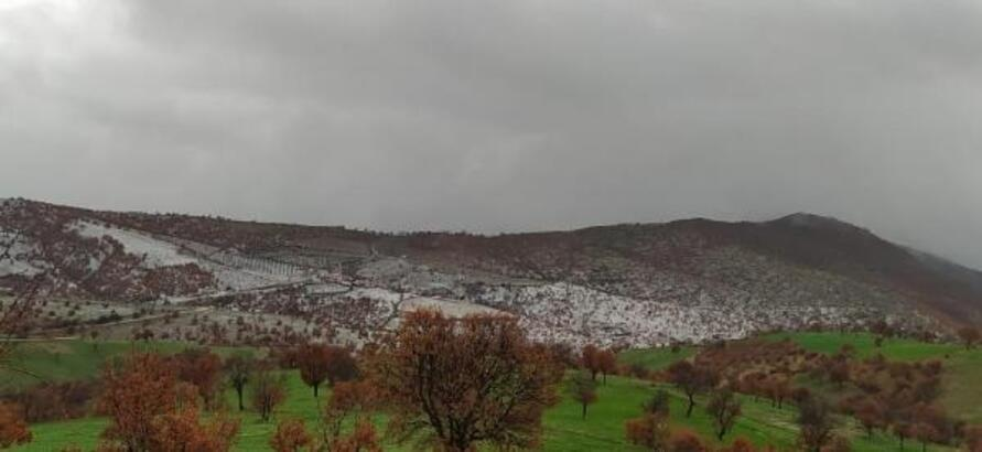 Kula'da yüksek kesimlere yılın ilk karı yağdı