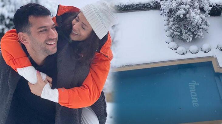 Murat Yıldırım eşi Iman Elbani'nin adını havuza yazdırdı