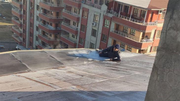 8 katlı binanın çatısında can pazarı! Saatlerce yardım bekledi