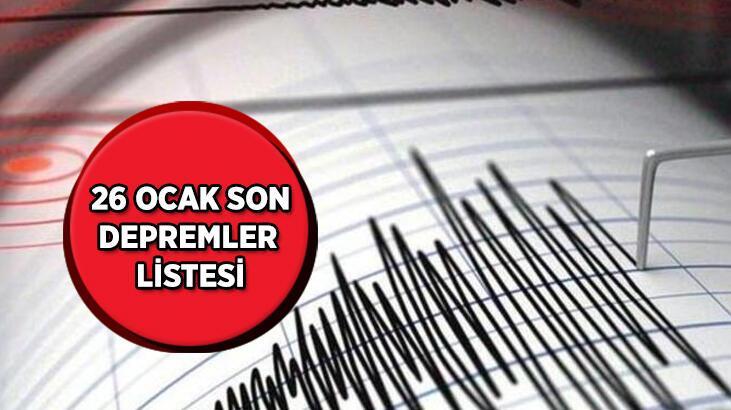 En son nerede kaç şiddetinde deprem oldu? Kandilli Rasathanesi 26 Ocak son depremler listesi...