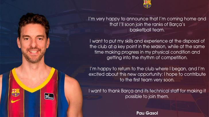 Son dakika | Pau Gasol, Barcelona'ya geri döndü!
