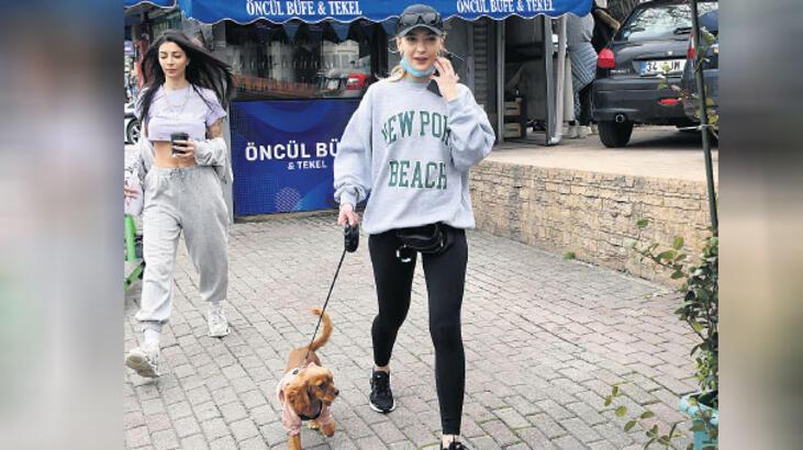 Köpeğini gezdirdi