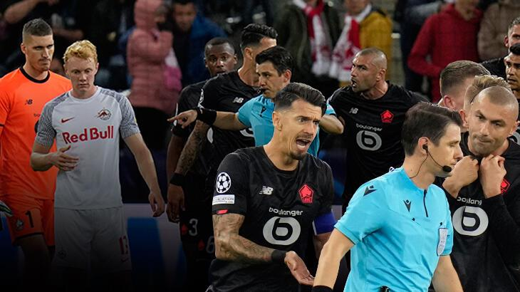 Son dakika: Salzburg-Lille maçını yöneten Halil Umut Meler'in kararları geceye damga vurdu! Burak Yılmaz tarihe geçti...