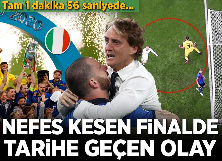 Nefes kesen EURO 2020 finalinde tarihi olay! 1 dakika 56 saniye...