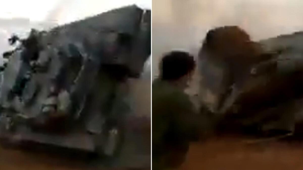 Görenler inanamadı... İsrail tankı alabora oldu!