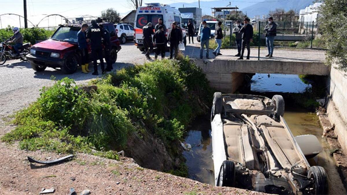 Otomobil sulama kanalına düştü: 2 yaralı