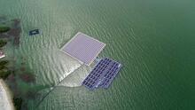 Türkiye'nin ilk yüzer güneş enerji santrali havadan görüntülendi