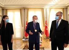 Cumhurbaşkanı Erdoğan'ın şampiyon voleybolcuları kabulünden görüntüler