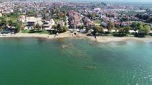 Sular çekilince 2 bin yıllık bazilikanın bir kısmı gün yüzüne çıktı