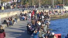 Caddebostan Sahili'ndeki kalabalık havadan görüntülendi