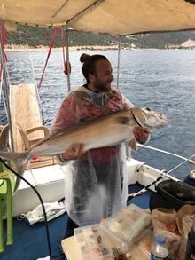 Antalya'da bir kişi oltasına takılan balığı sudan  kucaklayarak tekneye çıkardı
