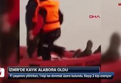 İzmirde kayık alabora oldu