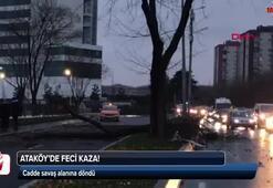 Ataköyde feci kaza: cadde savaş alanına döndü