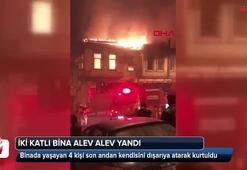 Beyoğlu'nda 2 katlı ahşap ev alev alev yandı