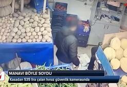 Manavdan hırsızlık anı güvenlik kamerasında