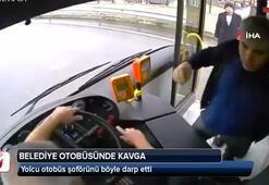 Belediye otobüsünde yumruklar havada uçtu