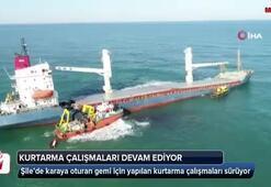 Karaya oturan gemiyi kurtarma çalışmaları devam ediyor