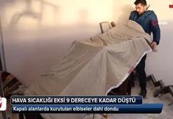 Sivas'ta çamaşırlar bile dondu