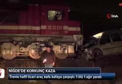 Trenle hafif ticari araç kafa kafaya çarpıştı: 1 ölü 1 ağır yaralı