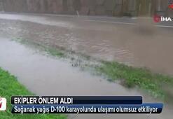 Sağanak yağış D-100 karayolunda ulaşımı olumsuz etkiliyor