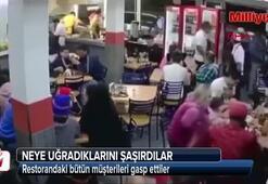 Restorandaki bütün müşterileri gasp ettiler