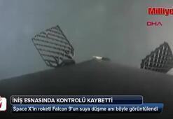 Space Xin roketi Falcon 9un suya düşme anı böyle görüntülendi