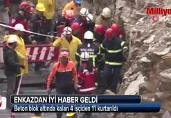 Beton blok altında kalan 4 işçiden 1'i kurtarıldı