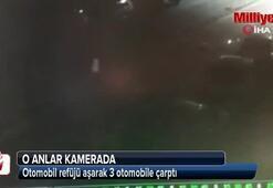 Otomobil refüjü aşarak 3 otomobile çarptı