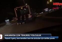 Ankarada çok tehlikeli yolculuk
